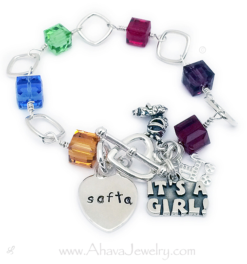January Birthstone Charm Garnet Crystal Dangle Silver Bracelet CHOOSE Clasp