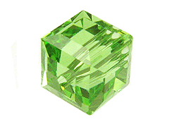 Peridot or August Swarovksi Crystal Cube or Square