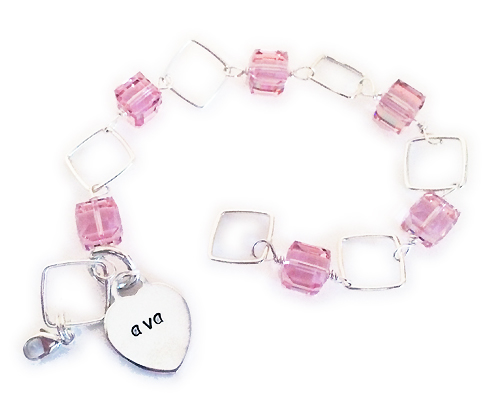 October Birthstone Crystal Bracelet with Monogram