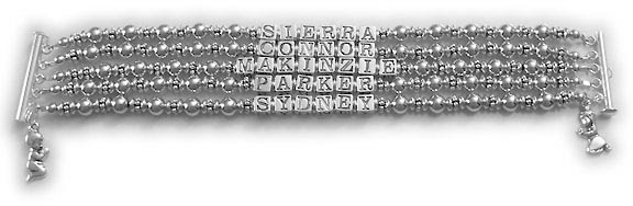 5 string Hebrew Name Bracelet with 5 Hebrew names