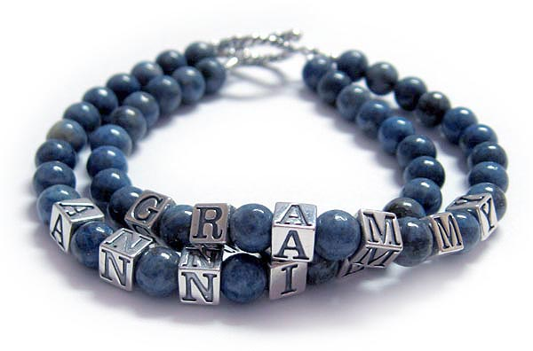 JBL-AJ-LL1 Two string bracelet shown with 2 names GRAMMY and ANNIE