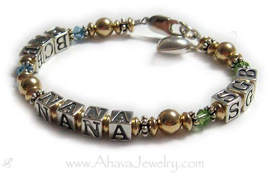Gold Hebrew Initials NANA Bracelet - AM MY BELOVEDS with June Swarovski Crystals shown (you choose the colors) Shown with a Star of David charm and a Fancy Cross Charm
