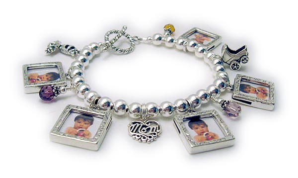 Photo Frame Charm Bracelet  JBL-CB10-buildOrder: 5-Square Picture Frame Charms, 6-Birthstone Crystal Dangles, Baby Carriage Charm, LOVE Filigree Charm