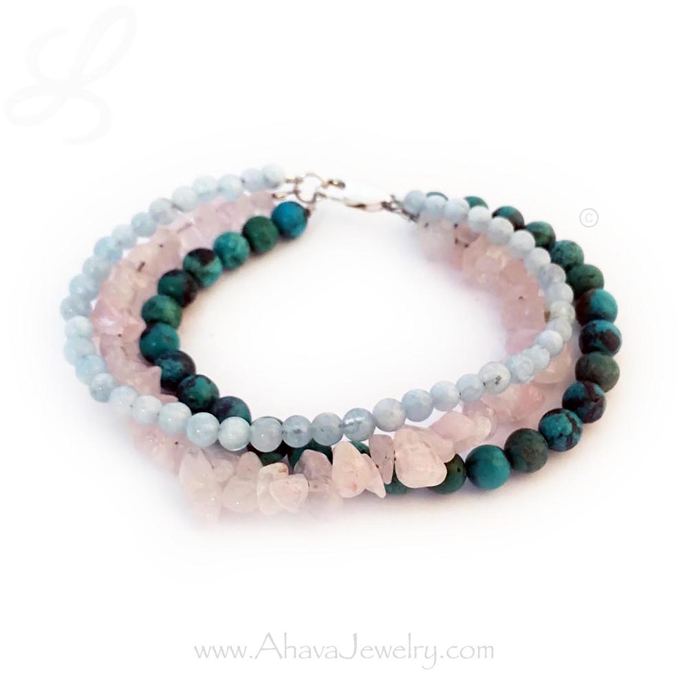 Fertility Bracelet with Aquamarine, Rose Quartz and Turquoise Bracelet