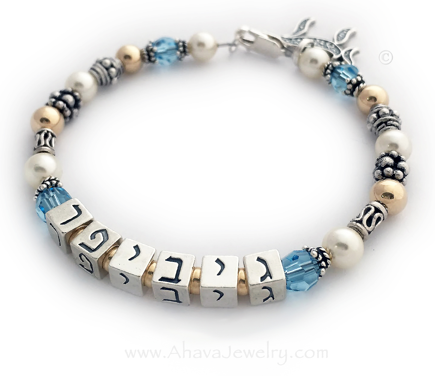 Item: AJ-G4  Name: Jennifer in Hebrew Crystals: Aquamarine (March Birthstone) Clasp: .925 sterling silver Charms: Chai charm