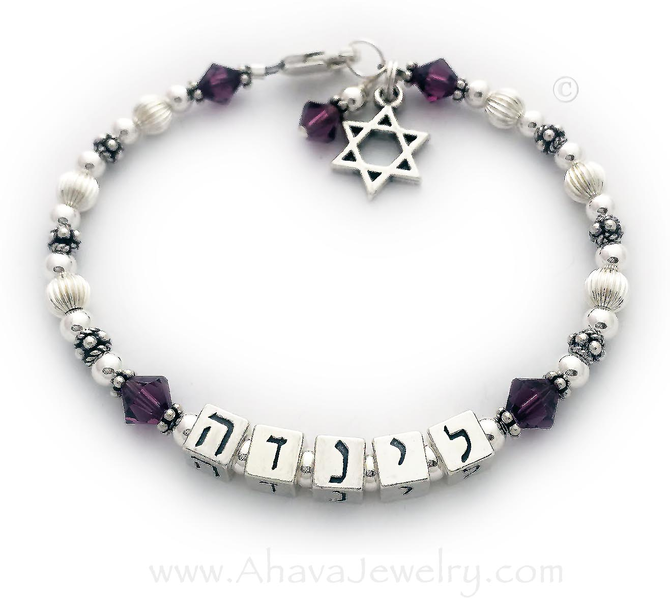 Linda in Hebrew AJ-S1  with February Birthstone Crystals and a lobster claw clasp. They added 2 charms: Star of David and Birthstone Crystal Dangle.