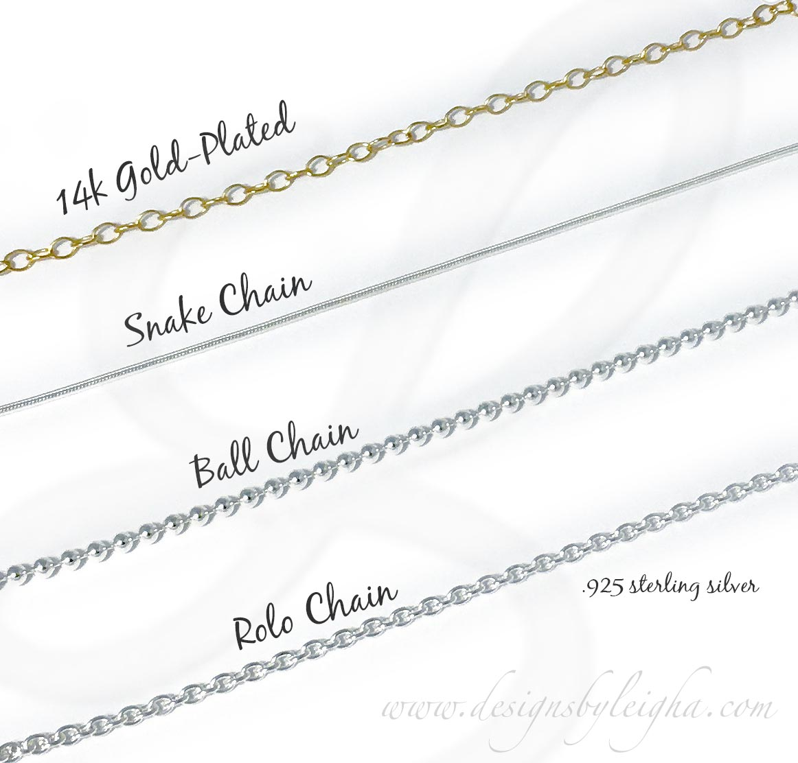 Image of sterling silver necklace chains... snake chain, ball chain and rolo chain