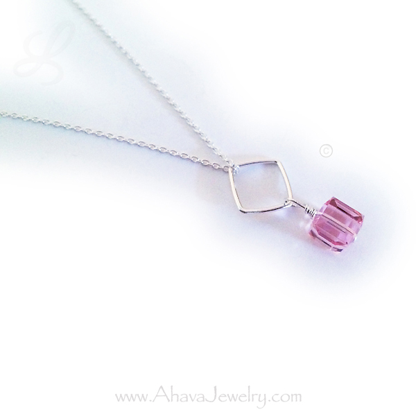 Birthstone Necklace - October Shown (pink/Opal)