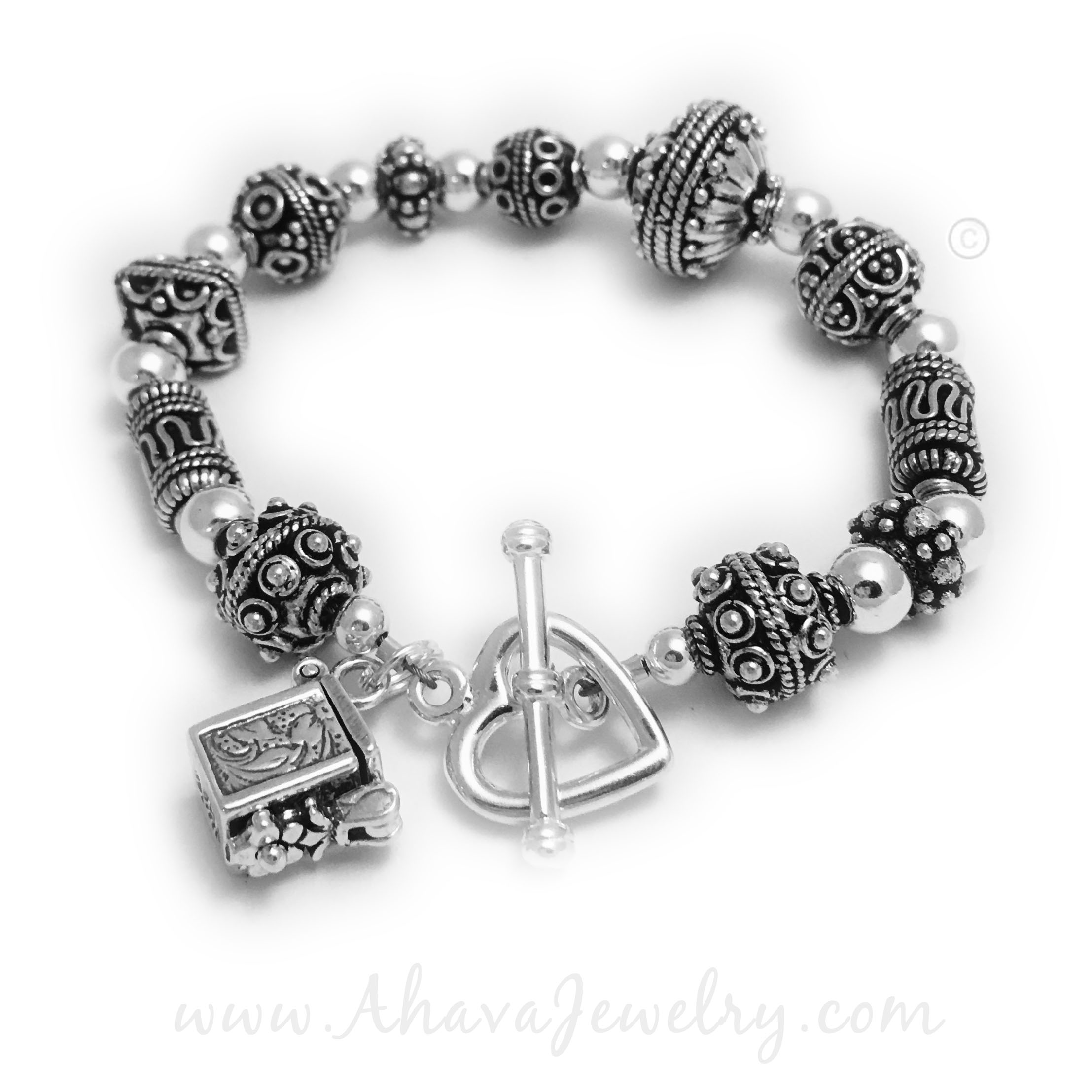This Judaic Prayer Box Bracelet is shown with a upgraded Heart Toggle Clasp.