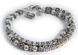 Alexandra and Christian Mothers Bracelets  with dangles and charms